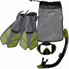 Seavenger Diving Set (Green)S/M Adult Size Trek Fin Single Lens Mask Bag