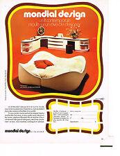 PUBLICITE  1972    MONDIAL DESIGN  ANEMONE création BERNARD GAUVIN  lit contempo