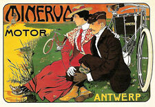 Art Deco - Minerva Motor Cycles  Bike Advert - A3 Art Poster Print