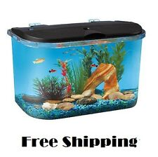 Acrylic Desktop Fish Tank Aquarium Filter Starter Kit 5 Gallon LED Lights Pet