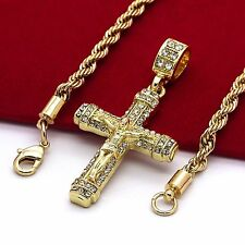 "Staple Jesus Cross Micro Pendant Hip-Hop Chain Gold Tone 24"" Inch Rope Necklace"
