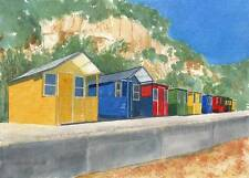 ANGELA SECKINGTON Watercolour Painting DORSET BEACH HUTS 2008
