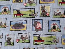 Scottie Dog Patch on Blue Plaid Weave Print BTY Mary Engelbreit for VIP Scotty