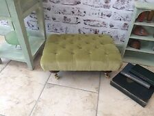 Linwood Fabrics Omega Velour - Green - Deep Buttoned Footstool Brass Castor NEW