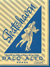 Skate Haven ~PALO ALTO CALIFORNIA~ Great Old Roller Skating / Luggage Label