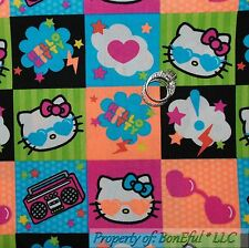 BonEful Fabric FQ Cotton Quilt Hello Kitty B&W Pink Star Girl Sun*glasses Block