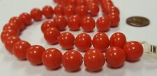 50 VINTAGE JAPANESE 1950's CHERRY BRAND GLASS CORAL 12mm SMOOTH ROUND BEADS 4581