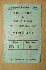 Tickets/ Stubs- 1977 LIVERPOOL v ASTON VILLA, 5th November (Main stand)