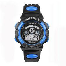 étanche Hommes Garçons Digital LED Quartz Alarme Date Montre Bracelet Bleu