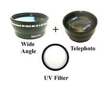 Wide Lens + Telephoto Lens + UV Filter Kit for JVC GY-HD200 GY-HD201 GY-HM700