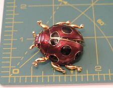 Vintage Giovanni Enamel Lady Bug Beetle Insect Gold tone Brooch Pin 5b 24
