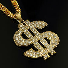 35In 18K Cool Men Hip Hop Rhinestones Necklace Big Dollar Sign Money Pendant
