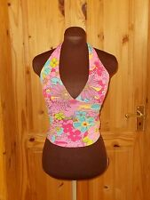 PER UNA pink lime green turquoise yellow floral stretch halterneck camisole 8 36