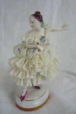 Volkstedt Dresden Lace Ballerina Dancer Figurine with Flowers - #2