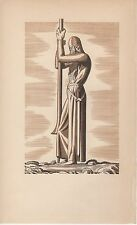 """1934 Vintage ROCKWELL KENT """"THE KNIGHT"""" CANTERBURY TALES Art Print Lithograph"""