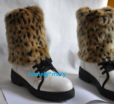 20cm leopard print faux fur funky leg warmers boots cover club dance shoes