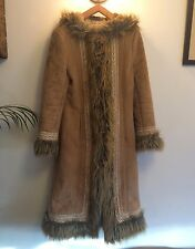 Vintage 70s Hippy Style Tan Embroidered Faux Suede Fur Long Hood Afghan Coat UKS