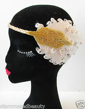 Nude Cream Gold Feather Flapper Headpiece Vintage 1920s Headband Headdress R73