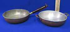 Vintage Copper Plated Skillet Pan & Double Handle Saute Pan  Lot of 2