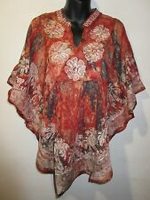 Top fits XL 1X 2X Plus Rust Green Batik Palm Tree Tie Dye Caftan Tunic NWT 78BM5