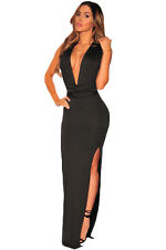 New elegant black deep V-neck evening prom cocktail long dress Size M 10-12