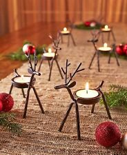 Set Of 6 Reindeer Tea Light Candle Holders Christmas Holiday Rustic Home Decor