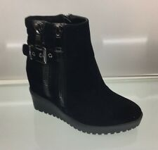WOMENS LADIES BLACK FAUX SUEDE HIDDEN WEDGE PLATFORM ANKLE BOOTS HI HEEL SIZE 3