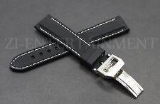 20MM Rubber Strap Band Black White    + Deployment Buckle Clasp FOR IWC PILOT