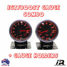 PYRO EGT EXHAUST GAS TEMPERATURE GAUGE + TURBO BOOST PSI KIT PYROMETER KIT 60MM