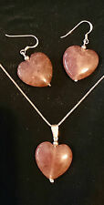 Strawberry Quartz Heart Stirling Silver Necklace and Earring Set