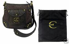 Just Cavalli Snake Embossed Shoulder Bag Brown Bronze Studded Logo Handbag