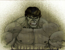 """Original HULK Water Color Painting signed by LEE OAKS Marvel Comics 9""""X12"""""""