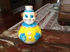 """Vintage Plastic Clown Top Toy 6 1/2"""" Tall"""
