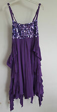 NEXT  Lovely Layer Dress In Purple 100% Cotton with Sequins - Beads Age 11 years