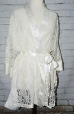 Victoria's Secret White/Ivory Bridal Lace & Satin Short Robe One Size S/M/L/XL