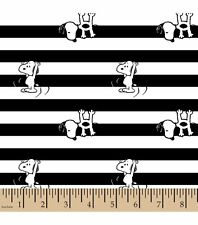 Peanuts Snoopy Black and White Striped Flannel Fabric by HALF YARD