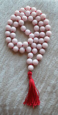 Jade Pink 10mm 108+1 Hand Knotted Peace Mala Beads Necklace - Energized