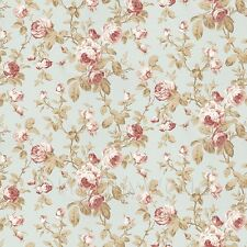 Dolls House Miniature Pale Red On Duck Egg Blue Trailing Rose Wallpaper