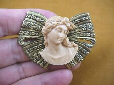 (CL68-1) Roman Lady statue 3D tan mauve color Cameo brass Pin Pendant brooch
