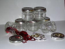 6 Small recycled empty glass jars/storage/craft/jewelry making