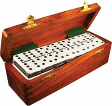 Domino Double Six 6 Two Tone White Black Tournament Pro Size Sheesham Wood Box