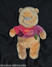 Peluche Doudou Ours Winnie DISNEY NICOTOY Tee Shirt Rose Bordeau Feuille 29 Cm
