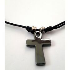 Handmade Christian Orthodox Pendant with Hematite Cross Necklace Crucifix No17