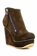 NEW! Diesel  7.5   The Zipper Blairey Olive Suede Ankle Boots Shoes Bootie Wedge