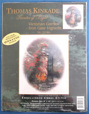 Thomas Kinkade candamar Twilleys victoriano puerta de jardín Kit punto de cruz sellado