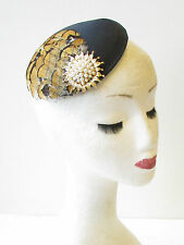 Black Mustard Brown Gold Pheasant Feather Fascinator Races 40s Hair Vintage 1429