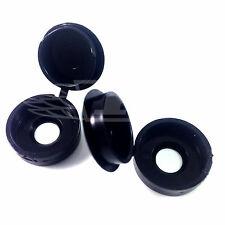 PACK OF 50 BLACK, SMALL HINGED, PLASTIC SCREW COVER CAPS - FREE UK DELIVERY