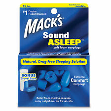 Mack's Sound Asleep soft foam 32db earplugs for sleeping, travel-12 pairs
