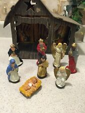 Vintage Chalk Ware Germany Christmas Creche Nativity Figurines- 9 pc Set