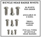 Pack of x6 Bicycle Head Badge Rivets for Bates Granby Hetchins Raleigh Chopper